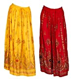 2 Pack of Indian Long Skirts with Sequins & Embroidered Designs (Lad#9603) (Red and Yellow)