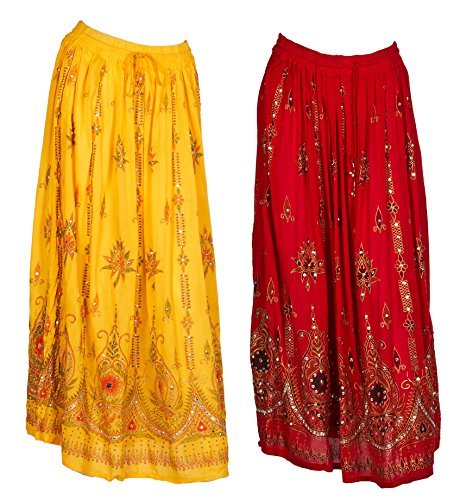 JOTW 2 Pack of Indian Long Skirts with Sequins & Embroidered Designs (Lad#9603) (Red and - Clothing India