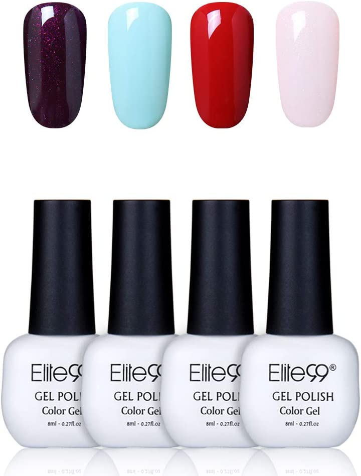 Elite99 Esmaltes Semipermanentes de Uñas en Gel UV LED, 4pcs Kit de Esmaltes de Uñas 8ml 020