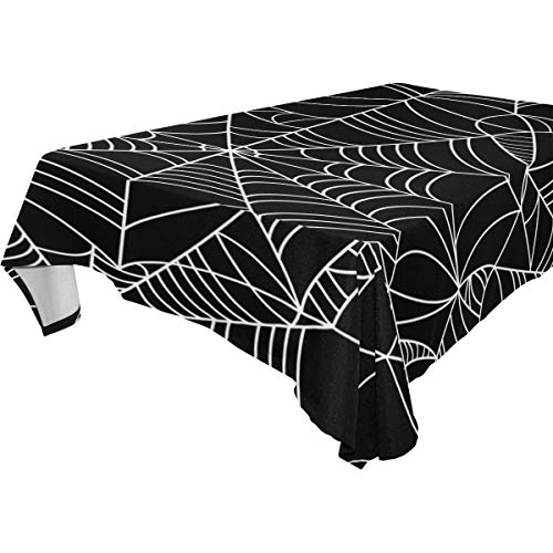 My Little Nest Rectangle Tablecloth Halloween Spider Web Washable Fabric Table Cover for Picnic Party KitchenDiningDecor 54x72 inch -