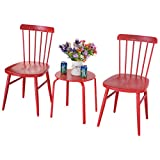 3PCS. Blue Patio Table Chairs Bistro Set Garden Lawn Pool Side Steel Furniture