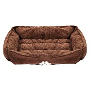 Townhouse Bumper Pet Bed Dog/Cat Bed with Dog Paw Print Medium Size 25x21x8in,Brown