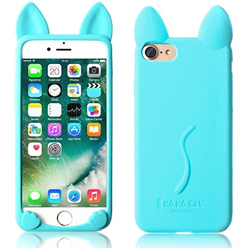 iPhone Case 5/5S, elecfan® 3D Cartoon Lovely Cat Soft Gel Cover Shockproof Silicone Protective Case For Apple iPhone 5/5S Devices – Blue