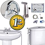 warmGrip Premium Handheld Bidet For Faucet with Stainless Steel Sprayer - Hot, Cold and Warm Water - Adjustable Water Pressure - Faucet Diverter