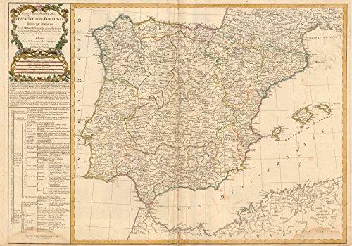 'Carte des Royaumes d'Espagne et de Portugal...' DELAMARCHE. Iberia Spain - 1780 - old map - antique map - vintage map - printed maps of Iberia
