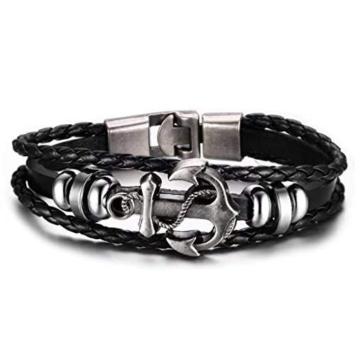 Fashion Jewelry Mens Black Braided Rope Leather Bracelet,Fashion Metal Anchor Bead Charms 8.3