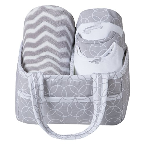 Trend Lab 6 Piece Baby Care Gift Set, Safari Gray