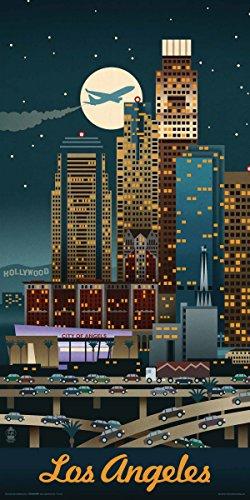 (Culturenik Lantern Press Chicago Illinois Retro Skyline Illustrated Decorative Travel City Art Poster Print, (Unframed 12 x 24))