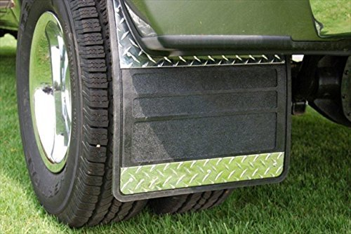 """Owens 86RF107D 19"""" x 24"""" Dually Rubber Mud Flap with Diamond Insert for Dodge Full Size Pickup"""