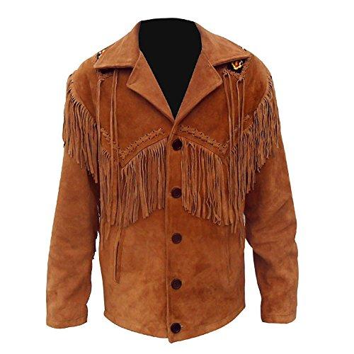 Coolhides Men's Cowboy Fringed and Beaded Leather Coat X-Large (Beaded Coat)