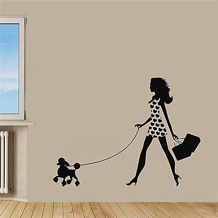 yiyiyaya Chica Caminando con caniche Tatuajes de Pared para ...