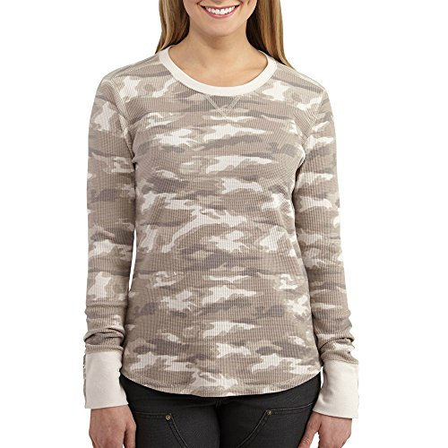 Carhartt Women's Meadow Waffle Knit T-Shirt Printed, Silver Cloud, Large