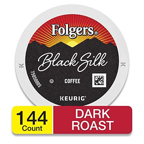 Folgers Black Silk Dark Roast Coffee, 144 K Cups for Keurig Makers