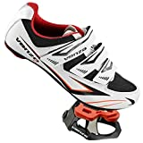 Venzo Bicycle Men s or Women s Road Cycling Riding Shoes - 3 Velcro Straps- with Look KEO Compatible Sealed Bearing Pedals & Cheats Perfect for Road Racing Bikes, White Color