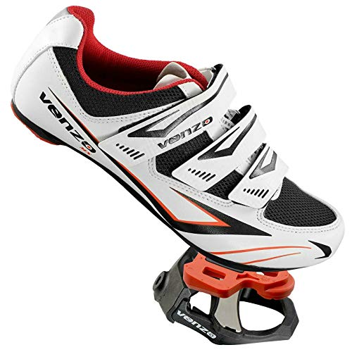 Venzo Cycling Bicycle Road Bike Shoes Look Keo Compatible Pedals & Cleats White Size 45