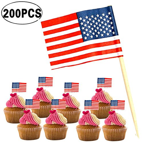 American Flag Picks, Coxeer 200PCS American Flag Toothpicks US Flag Food Cupcake Toppers for Birthday Wedding Patriotic Party 4th of July Decorations
