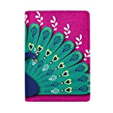Blue Viper Peacock Diwali Personalized Leather Passport Holder Cover Case Travel Wallet