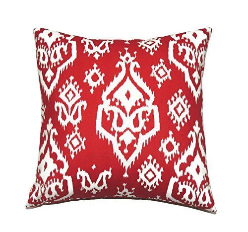 Euro pillow red ikat Pillow Cover. large bed Throw Pillow. Raji Carmine red, pattern Toss Pillows. square Cushion. Bed dorm. Pillow Cover. Pillow Sham 26