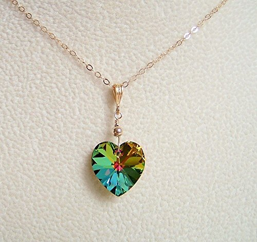 Multi Vitrail Green Heart Pendant Gold Filled Necklace 18 Inch Made w/Swarovski Crystal Gift Idea Swarovski Crystal Puffy Heart Pendant