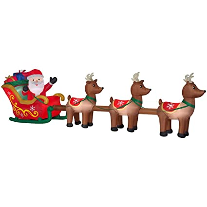 Amazon Home Accents Holiday 16ft Lighted Santa And Sleigh Airblown Inflatable Christmas Decoration Garden Outdoor