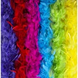 Feather Boa Set of 6 Festive Vibrant Colors – Suitable for Any Occasion – Mardi Gras Decorations - Party Supplies – Mardi Gras Costume Boa Party Accessory - 6.6ft Long Feather Boas