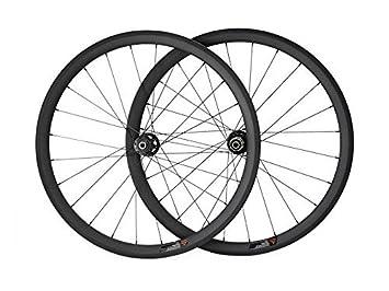 hulk-sports 700 C ruedas de carbono para carretera bicicleta freno de disco 38 mm Tubular 23 mm de ancho de 38, 3K/UD Front wheel: Amazon.es: Deportes y ...