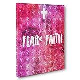 Faith Fear Motivational Quote CANVAS Wall Art Home Décor