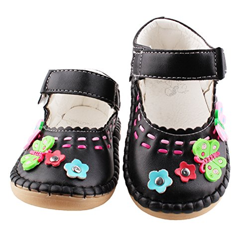 Lovefoot Baby Kids Girls Toddler Faux Leather Mary Jane Flats Crib Shoes, Rubber Sole Baby First Walkers