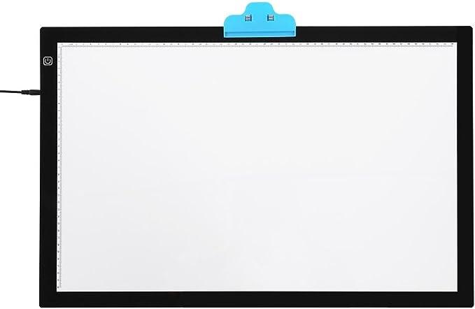 A2 Tableta de Luz Tablero de Dibujo Tablero de Trazado Arte y Copia para Diseño de Patrón Artístico, Caja de Luz LED con Interruptor Táctil y Pinza para Artistas Diseñadores Animadores, Enchufe
