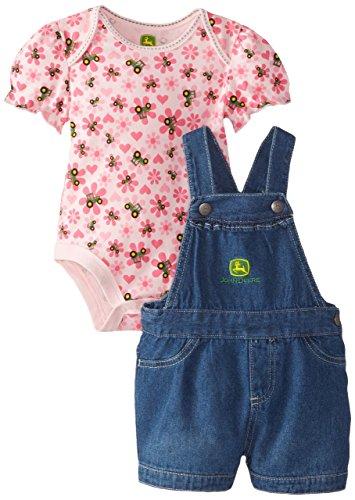 John Deere Baby-Girls Newborn Floral Toss Set, Pink Floral/Denim, 6 Months