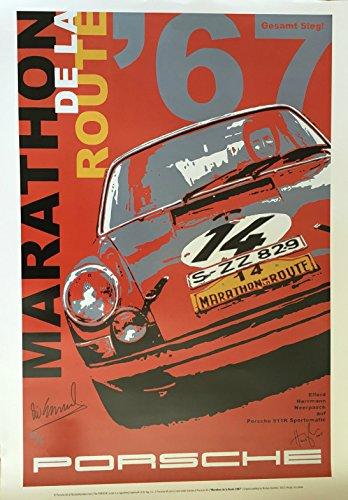 Marathon Driver - Nicolas Hunziker Porsche 911R Sportomatic - Marathon de la Route (84 Hours of Nurburgring) 1967 Victory - Art Poster Autographed by Driver Vic Elford and The Artist