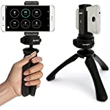 iGadgitz PT310 Black Mini Lightweight Tripod with Grip Stabilizer + Universal Smartphone Holder Mount Adapter for Huawei Mate 8, Mate S, G8, P8, Nexus 6P, Ascend P7, Ascend P6