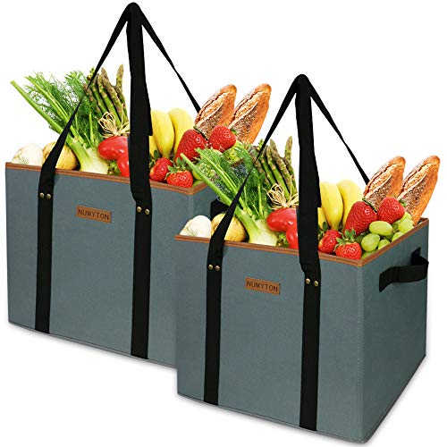 Reusable Grocery Bags, Laundry Basket Heavy Duty with Handles, Washable, Collapsible-2Pcs