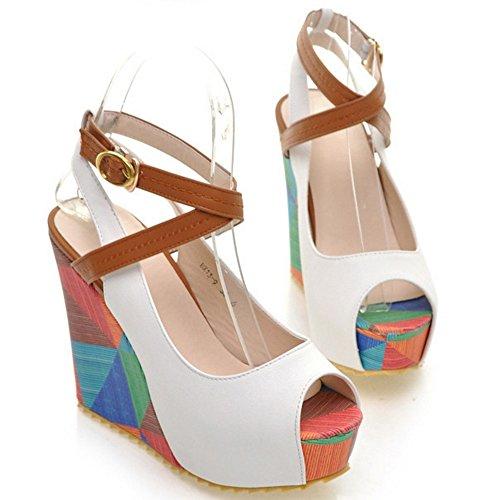 Coolcept Mujer Peep Toe Tacon de Cuna Sandalias Plataforma Slingback Zapatos Blanco