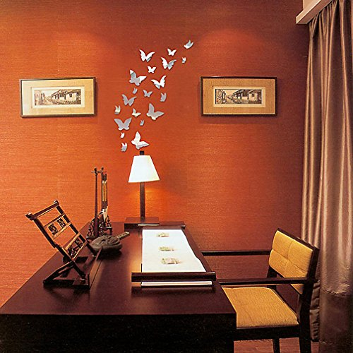 DIY - Do It Yourself New Wall Mirror Stickers, Butterflies, Made of Acrylic Material Like Mirror, Modern Design for Home Living Room Bedroom Kitchen Baby Child Novelty Luxury Crystal Wall Silent Watch Extra Large Clocks, Silver by HD Wall Stickers (Image #3)