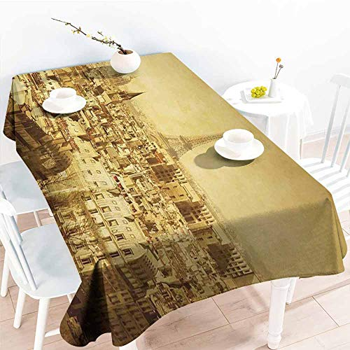 (Onefzc Tablecloth,Eiffel Tower Classic Photo of Eiffel Tower Paris National Landmark Old Album Memories Vintage,Table Cover for Kitchen Dinning Tabletop Decoratio,W60x120L Brown )