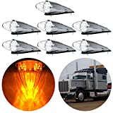 CCIYU Clear 17 LED Cab Roof Light Chrome Torpedo Cab Marker Clearance Roof Running Top Light Assembly for Heavy Duty Trucks Kenworth Peterbilt Freightliner Mack(7Pcs)