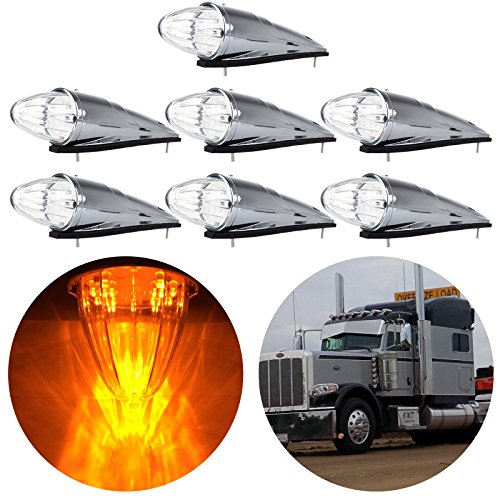 - cciyu Clear 17 LED Cab Roof Light Chrome Torpedo Cab Marker Clearance Roof Running Top Light Assembly Replacement fit for Heavy Duty Trucks Kenworth Peterbilt Freightliner Mack(7Pcs)