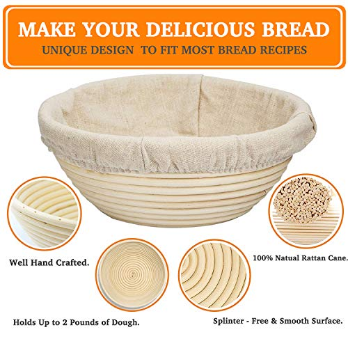 Professional Bread Proving Bowl 9 Inch Round Bread Proofing Basket Set for Professionals and Home Bakers Baking Bowl Dough Gift Proof Basket Proofing Box