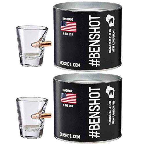 [set of 2] The Original BenShot Shot Glass with Real 0.308 Bullet #Bulletproof MADE in the USA by Ben Shot USA