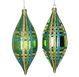 Vickerman 4ct Lime Green w/Blue, Green & Gold Glitter Plaid Shatterproof Christmas Finial Drop Ornaments 7''