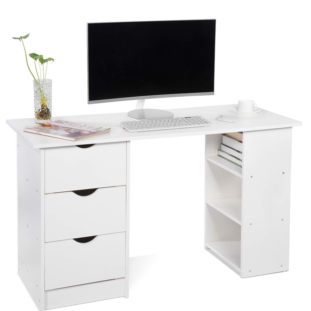 Computer Desk with 3 Drawers and 3 Shelves, Home Office PC Table Workstation, White ADD ONE +1