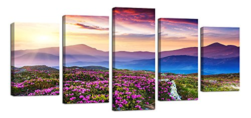 Ardemy Canvas Art Prints Purple Flowers All Over Mountain Lavender Landscape Painting Wall Art Decor, HD Giclee Prints 5 Panels Large Size Framed Ready to Hang For Living Room Home Wall Decoration