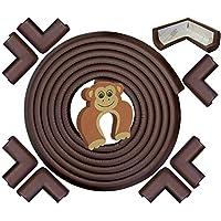 Guardas de esquinas y bordes de prueba para bebés: juego de seguridad para muebles de 10 piezas, café marrón