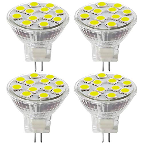 2.4W LED MR11 Light Bulbs, 12v 20w Halogen Replacement, GU4 Bi-Pin Base, Daylight White 4000K, (Pack Of 4)