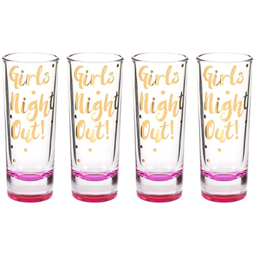Party Favors Shot Glassess - Girls Night Out Shot Glasses Gift Set with Gold Foil Prints and Pink Bottom for Bachelorette Party, Bridal Showers, and New Year's Eve- Set of - Pink Shot Glass Glasses