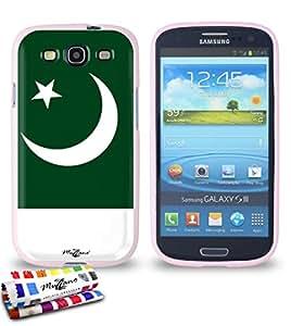 Carcasa Flexible Ultra-Slim SAMSUNG GALAXY S3 / I9300 de exclusivo motivo [Bandera Pakistán] [Rosa] de MUZZANO  + ESTILETE y PAÑO MUZZANO REGALADOS - La Protección Antigolpes ULTIMA, ELEGANTE Y DURADERA para su SAMSUNG GALAXY S3 / I9300