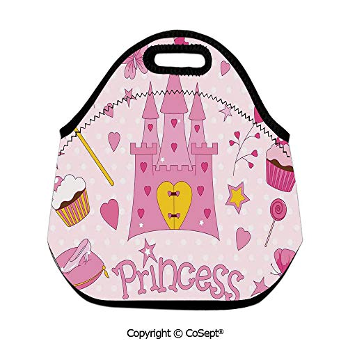 Insulated Lunch Tote,Little Princess Tiara Slippers Fairy Castle Heart Lollipop Wand Cupcake Girls Party Print Decorative,for Women Men Kids Boys Girls(11.81x6.29x11.02 inch)