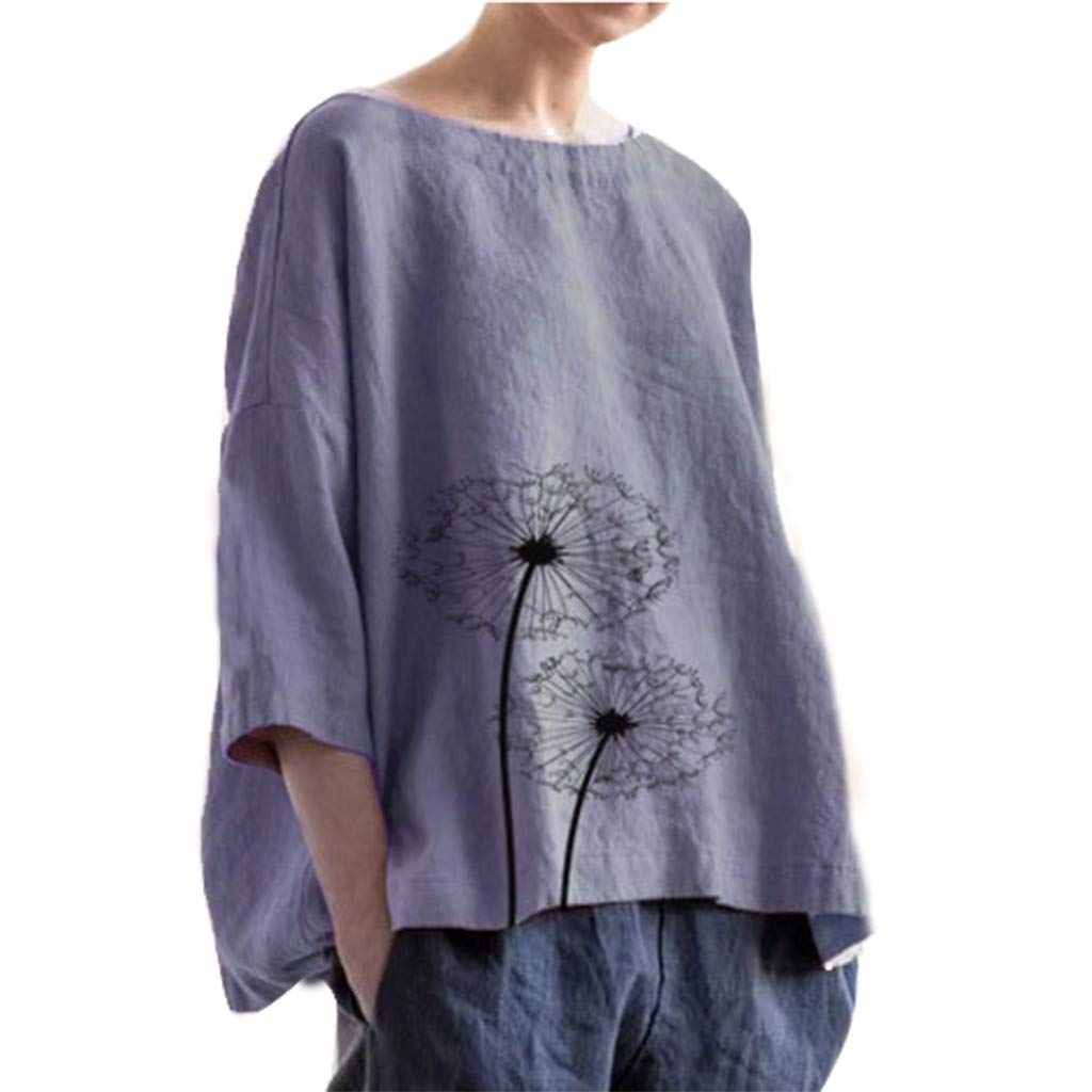 Women Casual Plus Size Solid Print Linen Loose Daily Beach Shirt Tops Camis Tunics Blouse Purple