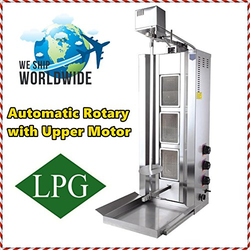 Capacity 35 kg/77 lbs. Propane Gas 3 Burner Spinning Grills Vertical Broiler Automatic Rotation Electric Top Motor Gyro Doner Kebab Tacos Al Pastor Shawarma Grill Machine Commercial Or for Home Use